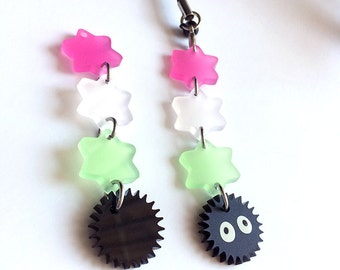 Spirited Away Soot Sprite Acrylic Charm - Frosted Dangle Ghibli Keychain
