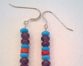 Amethyst, Turquoise, and Red Coral Rondelle Bead Earrings with Sterling Silver Hooks for Pierced Ears - Southwestern Western Earrings