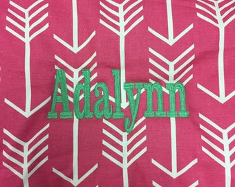 Nap mat Girls pink arrow with dark mint blanket