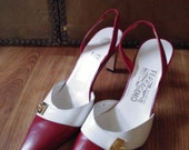 90s Salvatore Ferragamo red and white pointy slingback high heels
