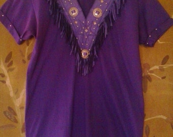 80s purple leather fringed and studded t-shirt