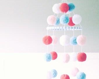 POM POM MOBILE - coral + pale peach + white + light blue pom pom mobile - sweet pom pom baby mobile, nursery decor