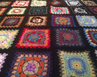 Wild Card Afghan in Fun Colors with a Charcoal Gray Border