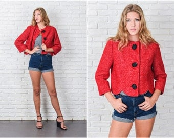 Vintage 60s 70s Red Wool Boucle Jacket Cropped Scalloped Mod Medium M 7822