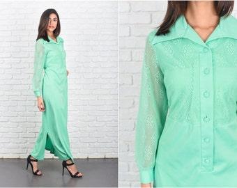 Vintage 70s Green Mod Dress Cutout Floral Maxi Long Sleeve Sheer Large L 7243 vintage dress 70s dress green dress mod dress cutout dress