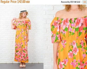 ON SALE Vintage 70s Orange + Pink Floral Print Dress Hippie Boho Maxi XS Small S 5184 vintage dress orange dress pink dress floral dress xs