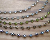 4mm Swarovski Crystal Channel Chain Footage in Oxidized Brass Choice of Colors (1 Foot)