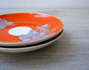 2 Gold Rim Floral Plates, Vintage Orange Purple Decorative Breakfast Plates, Vintage Soviet Porcelain, Mid Century Restaurant Cafe Serving