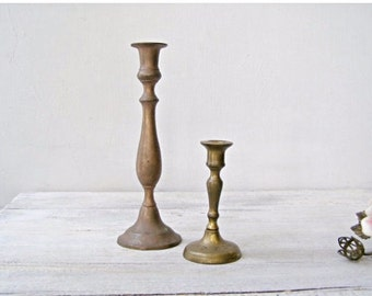 Graduated Brass Candlesticks, Sabbath Candlesticks Jewish Shabbath, Vintage Candlesticks Art Deco, Wedding Candlesticks Candle Holders