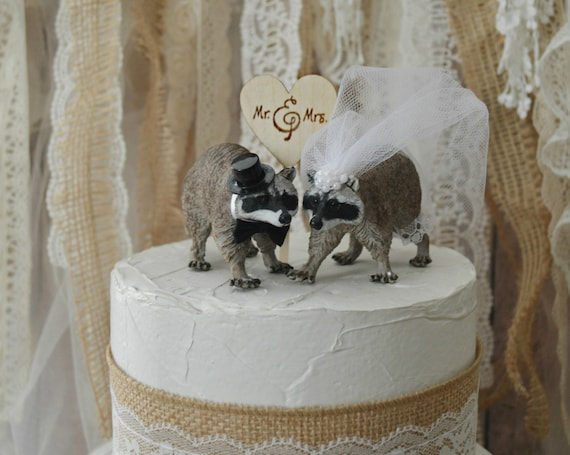 Raccoon Wedding Cake Topper Bride And By Morganthecreator