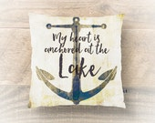 Lake Throw Pillow. Heart Anchored at The Lake Cabin Cottage Home Decor