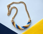 Yellow Electric blue trendy Nautical Twisted Rope Necklace, statement necklace, nautical by pardes