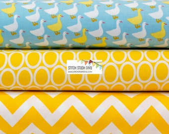 Urban Zoologie Mini Geese on Sky Blue BUNDLE from Robert Kaufman by Ann Kelle (3 Fabrics)
