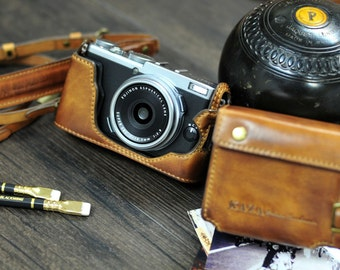 Cow leather case for Fujifilm X70 include leather full case and leather strap in vintage brown