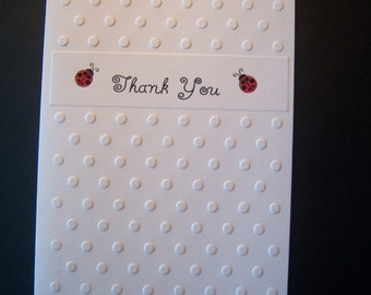 Set of 5 Embossed Thank You Cards with Ladybugs