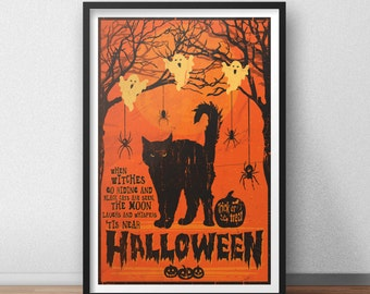 Tis Near Halloween Poster - 12 by 18 Inch Print - Halloween - Pumpkins - Black Cat