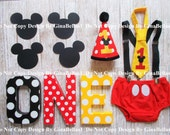 Mickey Mouse Birthday cake smash baby outfit clubhouse ears suspenders I am One Hat diaper cover Bow tie 9 12 18 toddler Photo shoot Package