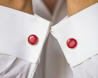 Vintage red brass cuff links, men's accessory, lightweight cufflinks round small, unisex cuff links USSR time, retro cuff link fashion