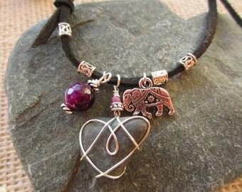 Boho Bracelet, Elephant Charm, Purple Agate, Beach Heart