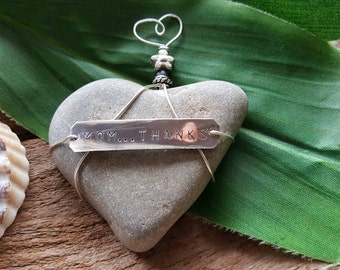 Heart Shaped Beach Stone Paperweight/Mom...Thanks/ Special/ One of a Kind/ Heart Gift/Mother's  Day