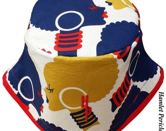 African Queen Red-brim Gold XL Bucket Hat | Afro | Afrocentric Hat | Natural Hair Hat | African | Red Blue Hat by Hamlet Pericles | HP11216e