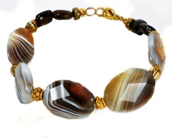 Unisex Botswana Agate Bracelet, Bali Vermeil, warm fall colors, top quality stones, high shine, faceted, Woodland, brown, ochre,taupe, tan