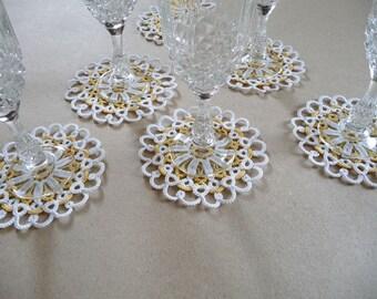 40 Wedding Lace Coasters-wedding decor-home decor-lace coasters -Tatting Lace-Handmade coasters-Table decor-Vintage party-victorian style