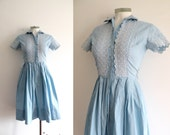 50s Cotton Full Circle baby Blue Summer Dress - XS