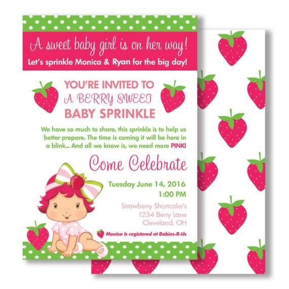 strawberry shortcake baby shower sprinkle invitation digital or