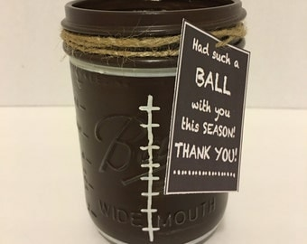 Football Mason Jar, Football Coach Gift, Hand Painted Football Jar, Thank you Coach gift, Football Team Gift, Hand Painted Mason Jar, Gift