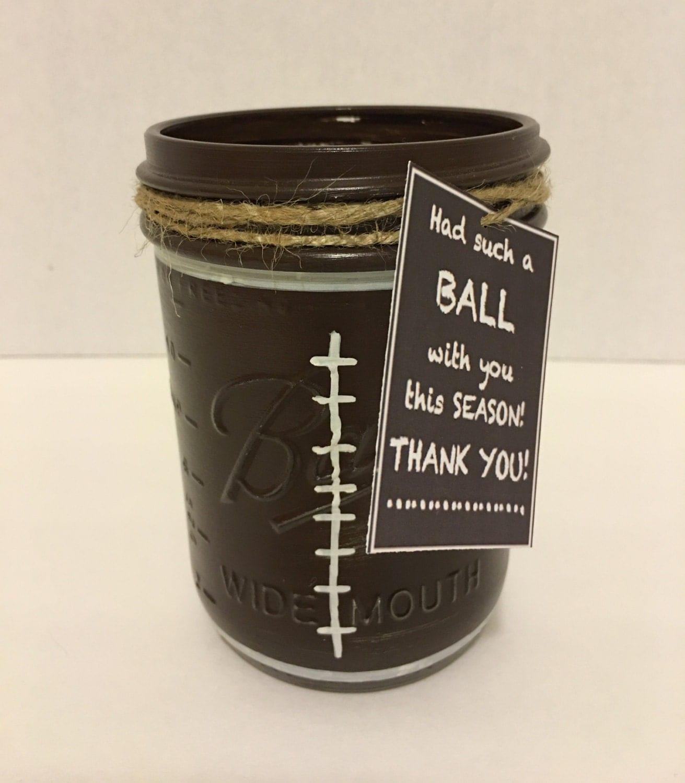 Football Mason Jar Football Coach Gift Hand Painted Football
