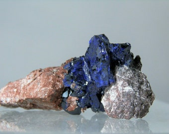 Rich Blue Azurite Crystals In Matrix Display Collectible Mineral 37.68 grams Rare Specimen from Milpillas Mexico Closed Mine