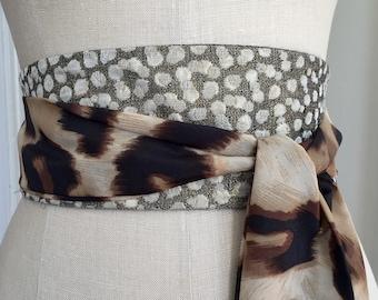 Animal print obi sash belt, reversible brown obi belt, brocade animal print fabric belt, waist cincher, brown print sash
