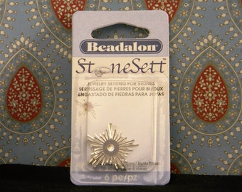 Beadalon Stone Sett DIY Cabochon Stone Settings 6 Star Burst