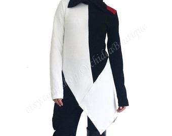 COLORBLOCK tunic blouse top sweater  asymmetrical polo neck fall fashion women  plus size