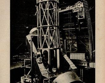 1900 Mount Wilson Telescope, Original Vintage Space Astronomy Print