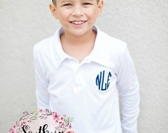 White Boy's Long Sleeve Monogrammed Polo - Holiday outfit - Monogrammed Shirt - Polo Shirt - Christmas Shirt - Fall Clothing