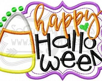 Happy Halloween Candy Corn Design - Girl's holiday - Halloween Applique Shirt - Girl's Halloween Shirt - Holiday Designs - Monogrammed Shirt