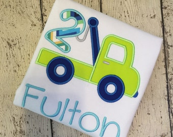 Tow Truck Birthday Shirt - 5th Birthday - FIVE Birthday Shirt - Boys Applique Designs