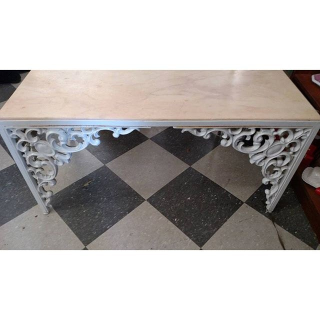 Cast iron coffee table with pink marble top slab for Marble and wrought iron coffee table