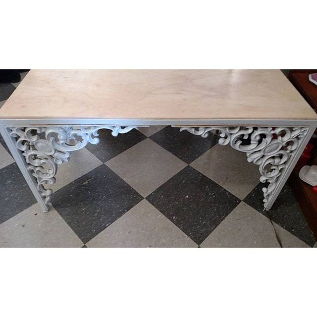 Iron Marble Top Coffee Table: Cast Iron Coffee Table With Pink Marble Top Slab