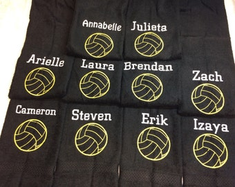 Volleyball, football, baseball, softball, basketball, Personalized outline ball design towel, with one name and ball, great seller, team