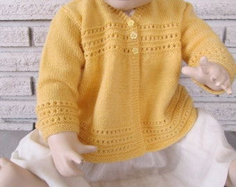 Hand Knit Baby Sweater Cardigan Wool 12M Vintage Style Yellow