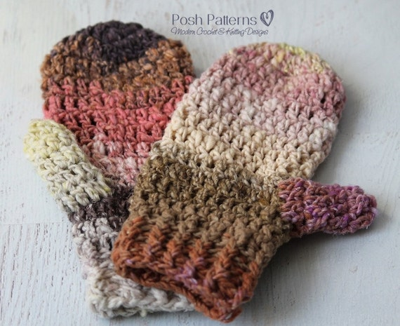 Crochet Pattern - Easy Crochet Mittens Pattern - Mitten Crochet ...