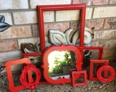 Red Ornate Vintage Frames, Little Red Riding Hood, unique Red Decor, Salon Decor, Upcycled, Painted Frames, Ornate Wall Decor