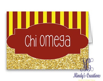 Chi Omega Note Cards (Pack of 10) with Envelopes