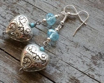 Simple Blue Turquoise Heart Earrings Southwestern Style