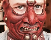Samurai Menpo Mask- red and gold
