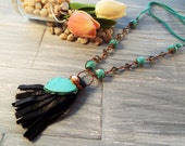 Leather Tassel Necklace - Southwestern Turquoise Jewelry - Turquoise Statement Necklace - Bohemian Jewelry - Gypsy Necklace