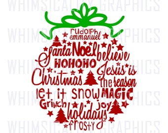 Christmas Ball Ornament Word Art with svg, dxf, png and eps Commercial & Personal Use